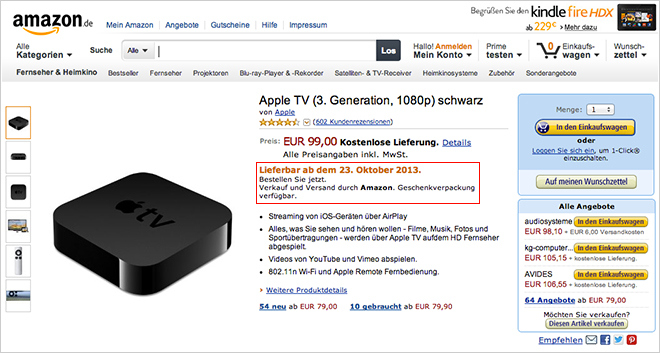 Apple tv launch's next week as per Amazon website